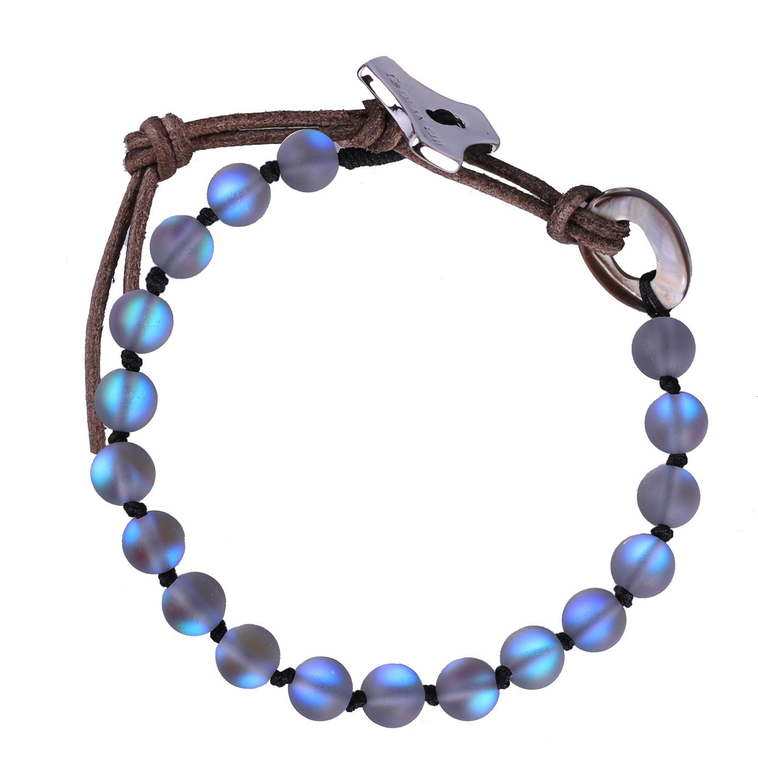 C·QUAN CHI Gem Semi Precious Gemstone Moonstone Bracelet Charms Beaded Bracelet Adjustable,Moonstone Jewelry for Women Gifts for Man Unisex