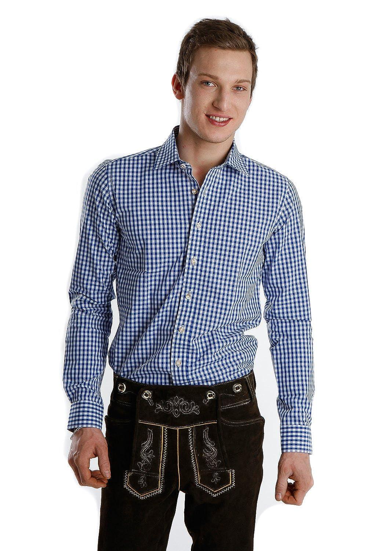 Almsach Trachtenhemd blau slim fit