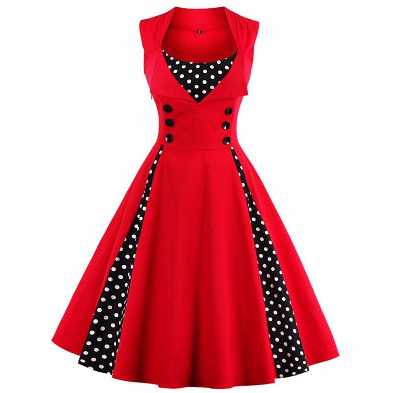 Women Pin Up Dress New Vintage Rockabilly Swing Summer Elegant Tunic Vestido female Dresses at Amazon Womens Clothing store: