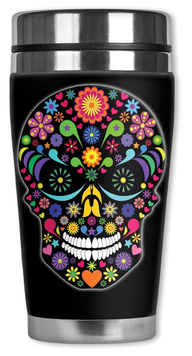 amazoncom mugzie multi color sugar skull travel mug with insulated wetsuit cover 16 oz black mugzie travel mug kitchen dining