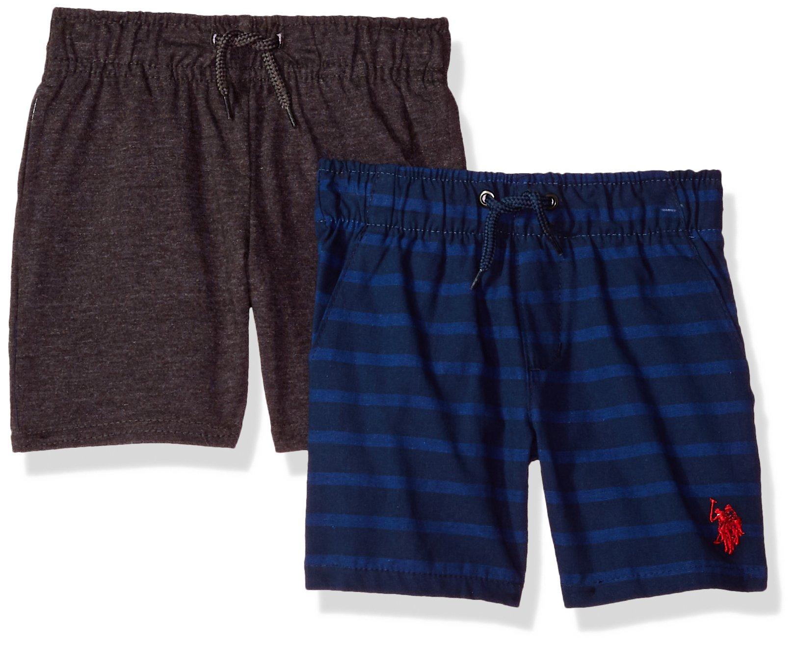 U.S. Polo Assn. Little Boys' 2 Pack Short, Blue Stripes Woven with Grey Fleece Multi Plaid, 7