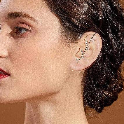 Baikk Ear Wrap Crawler Hook Earrings,Gold Silver Shining Hypoallergenic Women Fashion Crawler Earrings Classic Lady Hook Earrings Jewelry