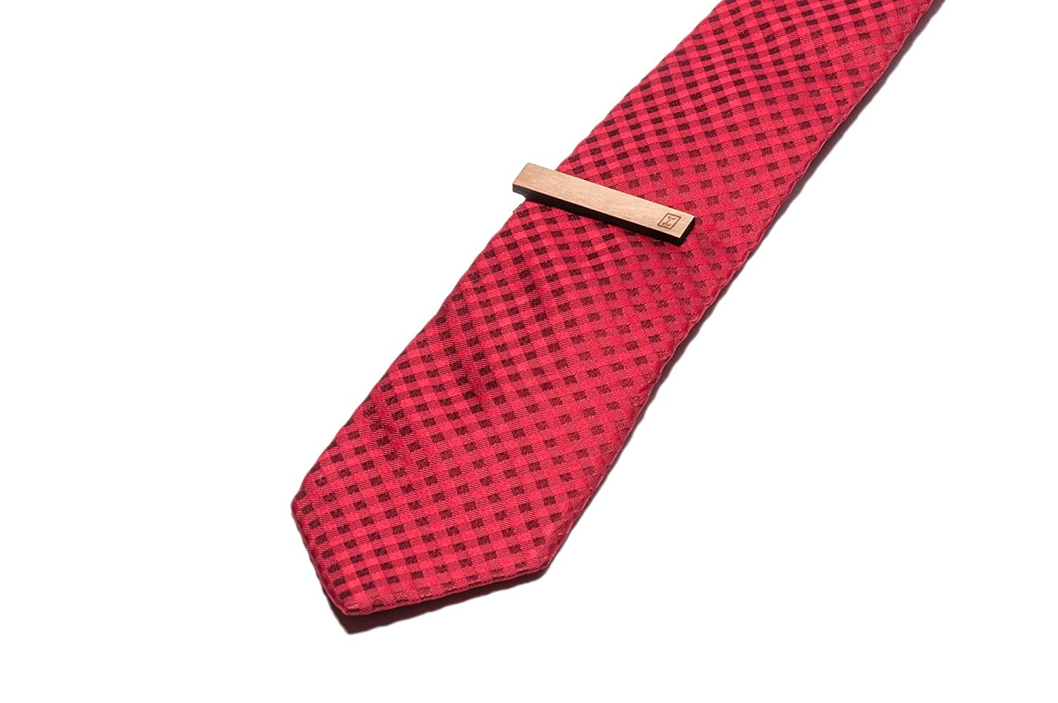 Cherry Wood Tie Bar Engraved in The USA Wooden Accessories Company Wooden Tie Clips with Laser Engraved Steel Beam Design
