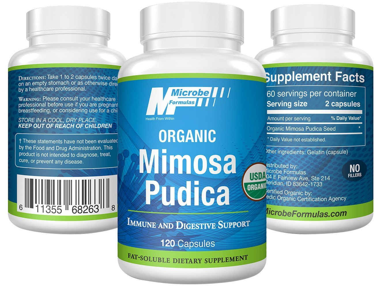Intestinal Support - Microbe Formulas Mimosa Pudica- 120 Capsules - Supports Detoxification - Antimicrobial Benefits - Fat Soluble Organic Supplement - Dietary Supplement - Healthy Intestinal Tract by Microbe Formulas