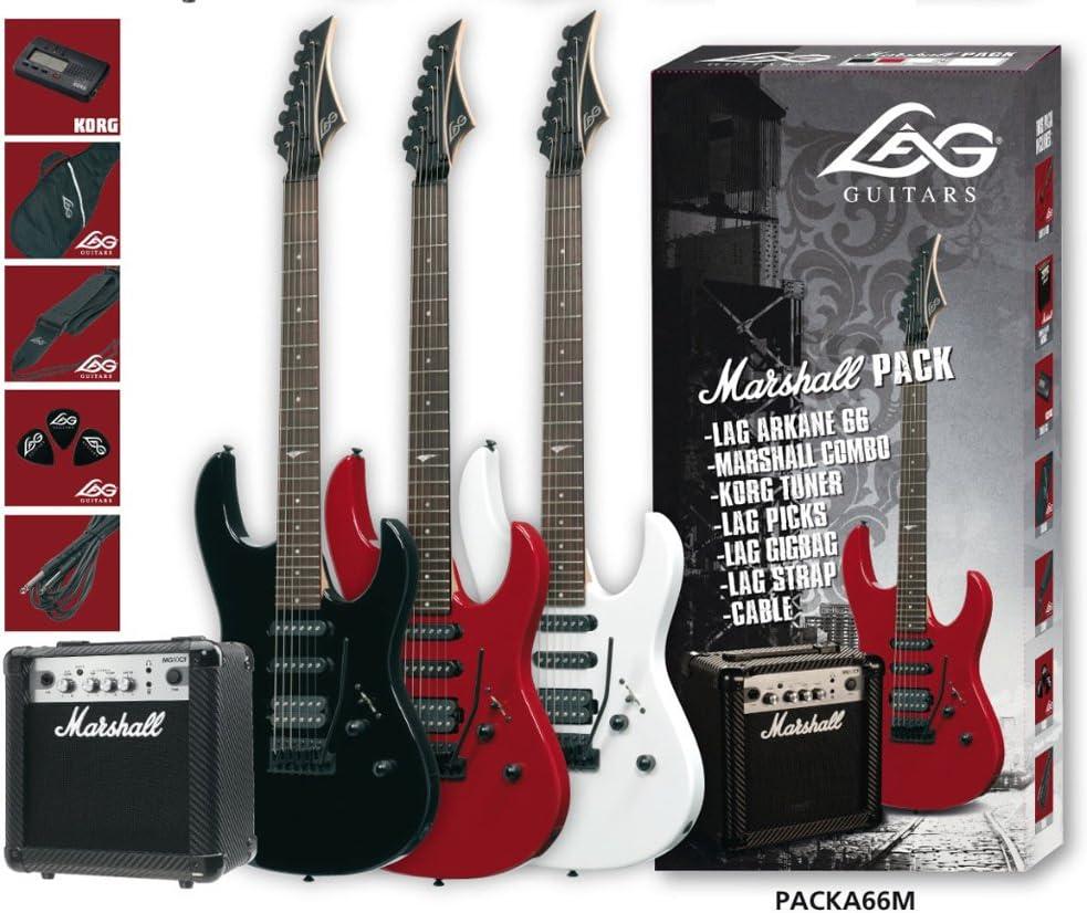 Pack guitarra electrica a66 + amplificador marhsall mg10cf red: Amazon.es: Instrumentos musicales