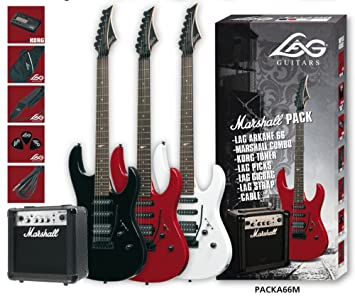 Pack guitarra electrica a66 + amplificador marhsall mg10cf black