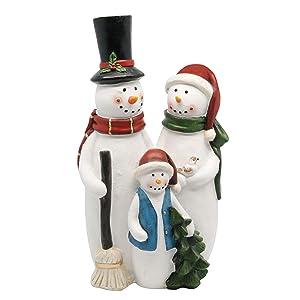 Alpine Corporation ALP-ZAB108XS Snowman Family Statue Outdoor or Indoor Festive Holiday Decor for Home, Garden, Porch, 12-Inch Tall, Multicolor