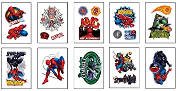 17cd98ee4 Amazon.com: Spiderman Tattoos - Set of 10 Small Sheets of Tats ...