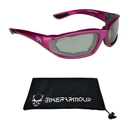 Biker Sunglasses Motorcycle Riding Foam Padded Black Pink Clear Yellow Glasses