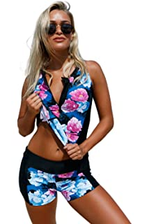 34ee4d5b3cb KaleaBoutique Women's Floral Print Zip Front Sporty Tankini Swimsuit with  Swim Shorts Swimwear Set