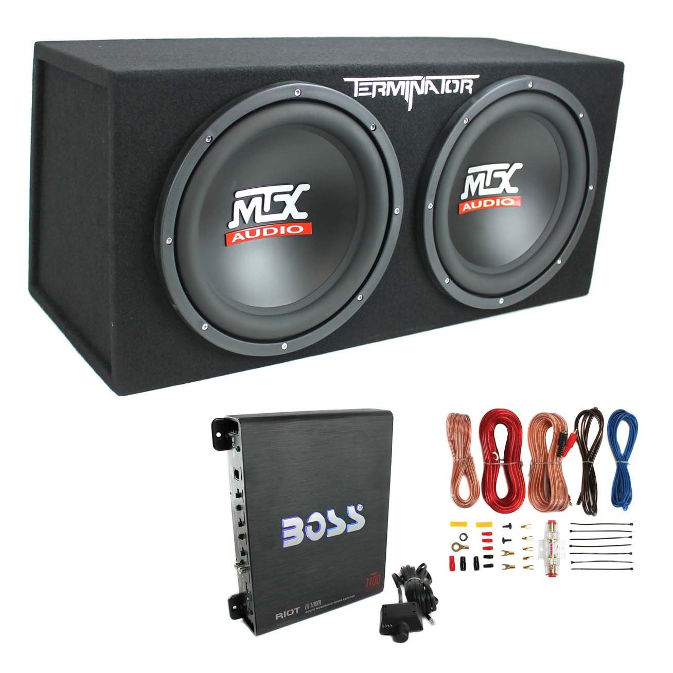 Mtx Tne212d 12 Inch 1200w Dual Loaded Subwoofer Box Amplifier Wiring Kit With Capacitor Car Electronics