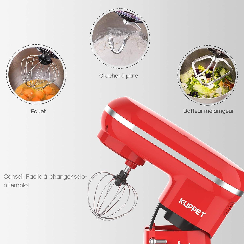 KUPPET Robot Pâtissier 1300W à tête inclinable avec Bol d/'Acier Inox 4,5L Bleu