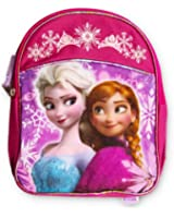 "Disney Frozen Preschool Backpack Toddler 11"" (Anna and Elsa Backpack with Purple Piping)"