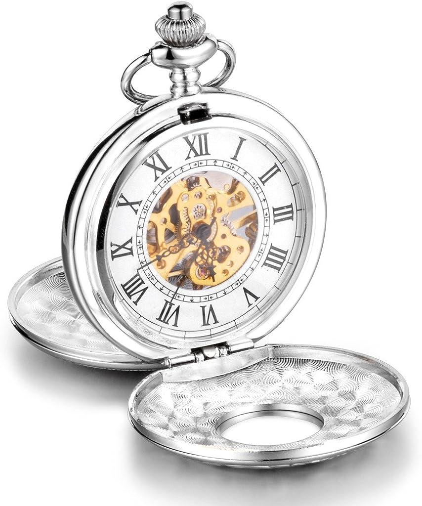 Infinito U Esqueleto Números Romanos Acero Grande Dobles Tapas Reloj de Bolsillo Mecánico Collar Plateado