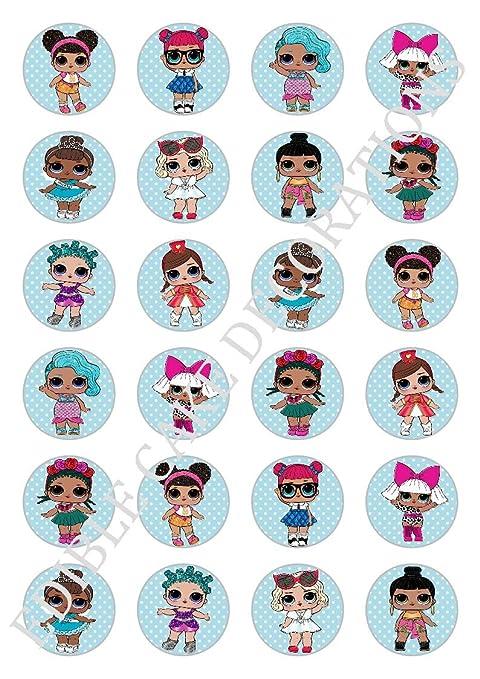 24 X Lol Bambole Celebrazione Carta Commestibile Topper Per Cupcake