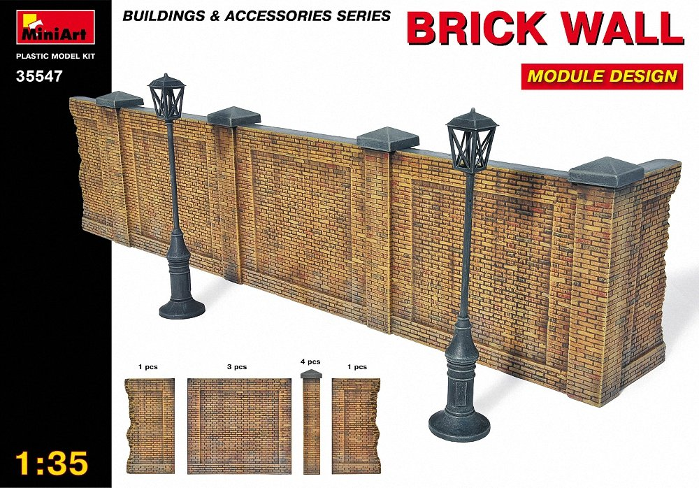 MiniArt Brick Wall with Lamps Diorama Kit 1:35 Scale Military Model Kit