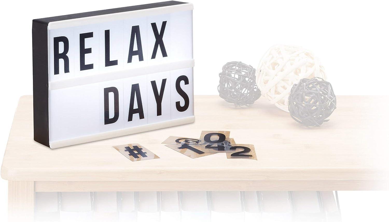 Relaxdays Caja de luz led con 60 letras, símbolos y cifras, Blanco ...