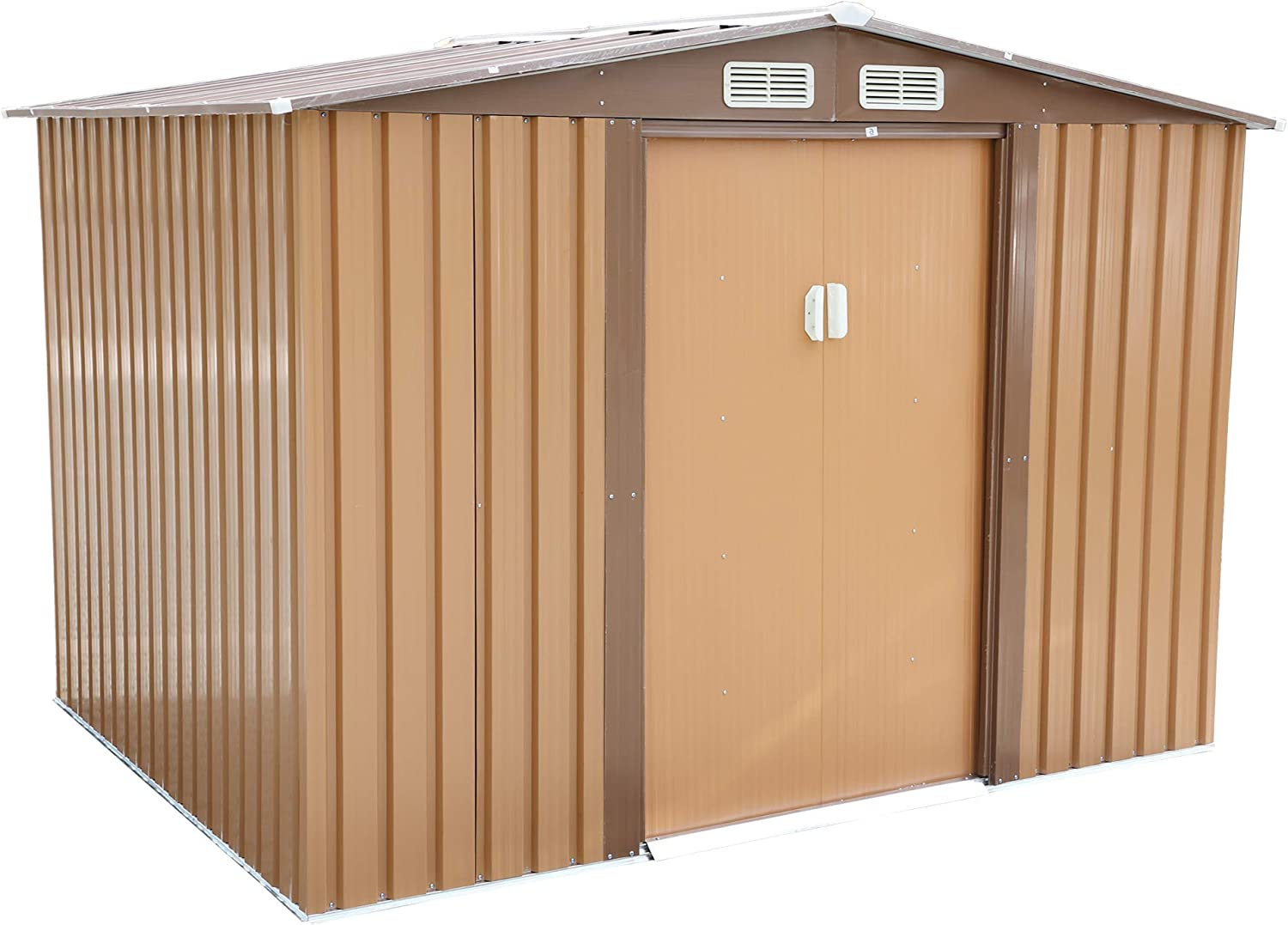 JAXPETY 8' x 6' Large Outdoor Metal Storage Shed Backyard Garden Steel Utility Tool Shed Lawn Building Garage Organizer w/ Sliding Door, Roof and 2 Vents, Coffee