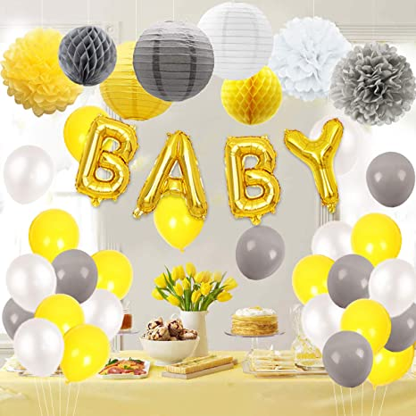 Decoraciones para baby shower en amarillo y gris con globos ...