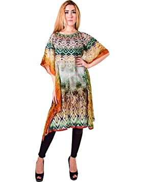 Bayside Barcelona Cuello Redondo Caftan de Las Mujeres de la Impresión Digital Kimono Summer Beachwear Cover