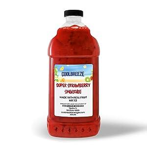 Coolbreeze Beverages Premium Flavor Syrups - Frozen Fruit Smoothie Blends - Frozen Drink Machine Mix, Blender Use - Shelf Stable, Made with Real Fruit! (Super Strawberry Smoothie)