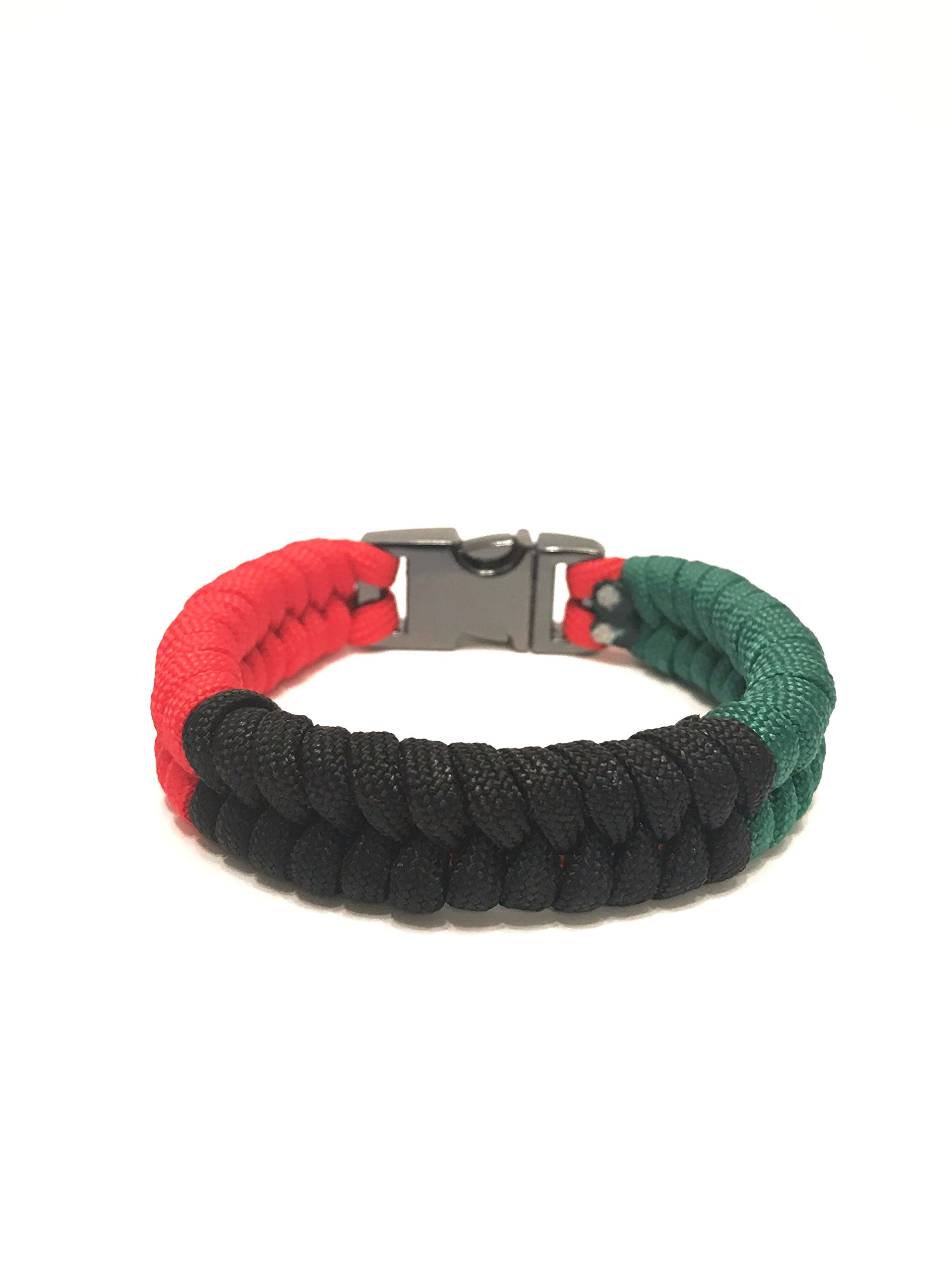 African American Flag Mens & Women Paracord Survival Bracelet Jewelry (Size 7.0)