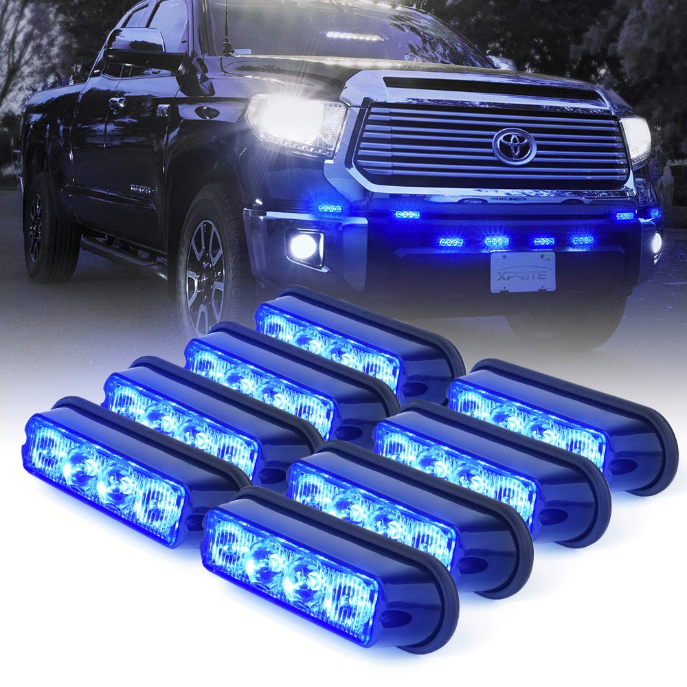 Xprite Blue 4 LED 4 Watt Emergency Vehicle Waterproof Surface Mount Deck Dash Grille Strobe Light Warning Police Light Head with Clear Lens - 8 Pack