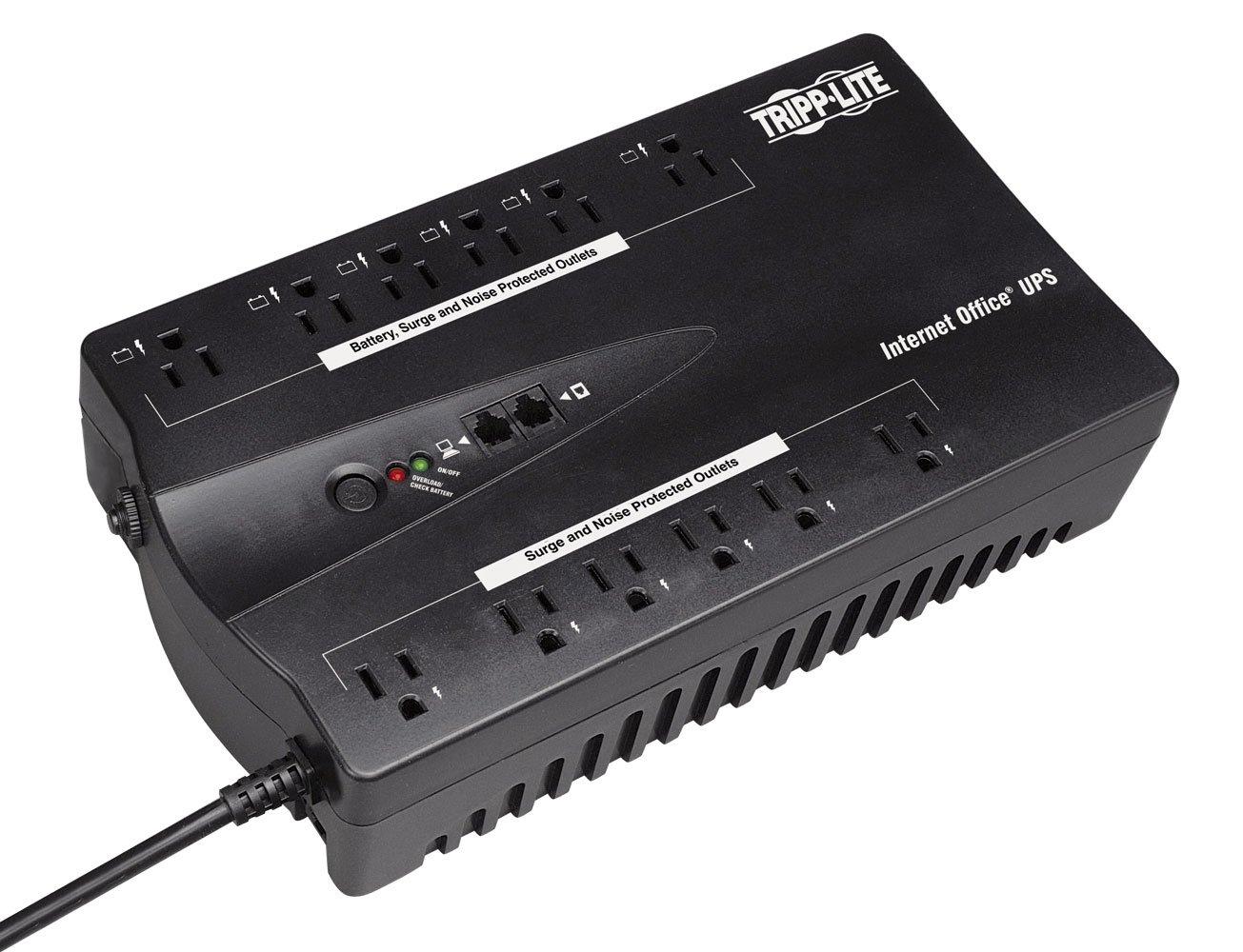 Tripp Lite 750VA UPS Desktop Battery Back Up, 12 Outlet, 450W 120V Standby, Ultra-Compact, USB (INTERNET750U)