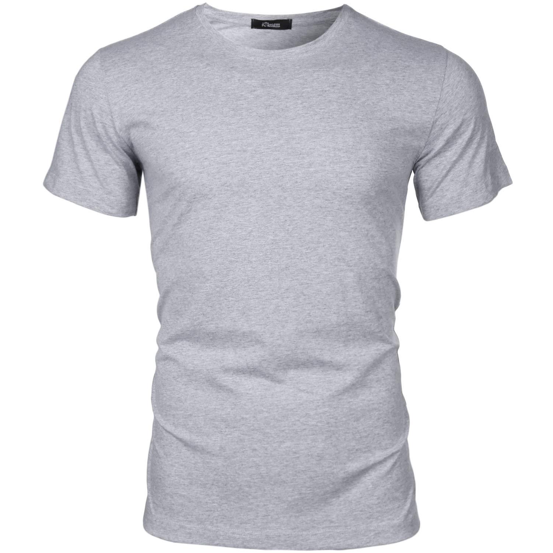 iClosam Men's Short Sleeve T-Shirt Crewneck Basic Solid Henley Tee T-Shirts Grey