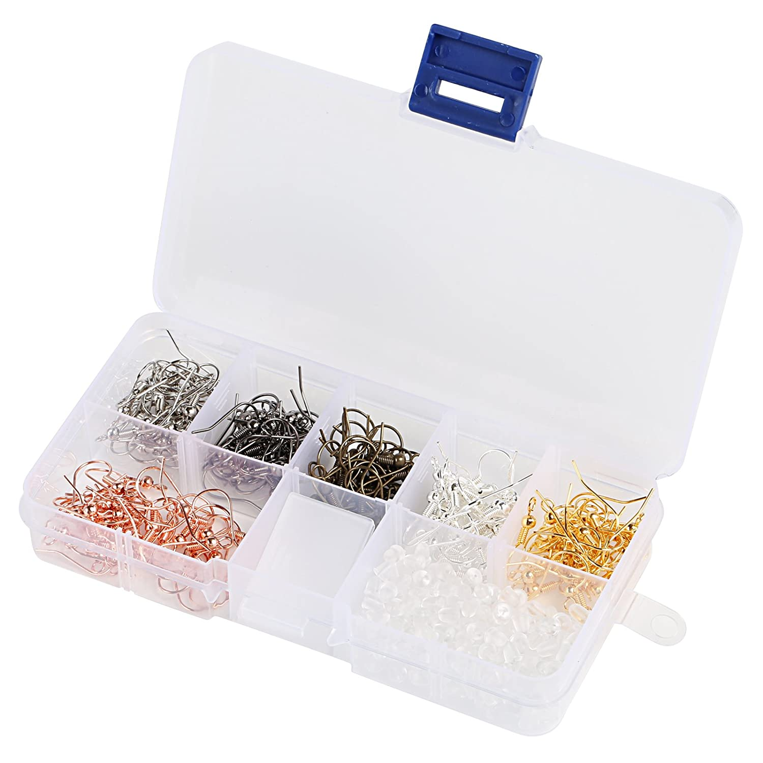Naler 180pcs Earring Hooks Ear Wires Fish Hooks + 200pcs Rubber Earring Backs with Assorted Box for DIY Jewellery Finding Craft Jewellery Making (6 Colours) 4336826843