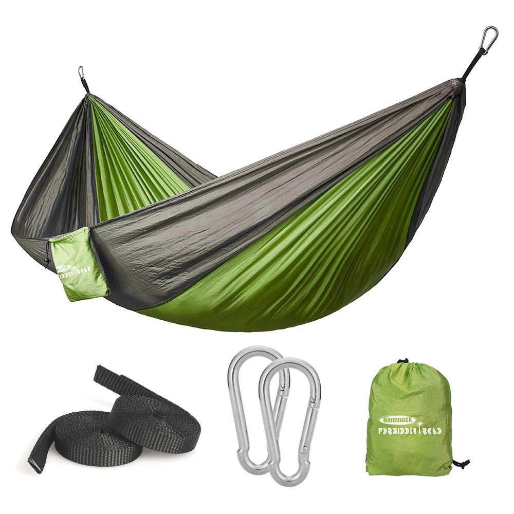 Forbidden Road Hammock Single Double Camping Portable Parachute Hammock for Outdoor Hiking Travel Backpacking – 210D Nylon Taffeta Hammock Swing – Support 400lbs – 660lbs Ropes Carabiners Included