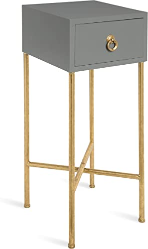 Kate and Laurel Decklyn Modern Glam Wood Side Accent Table with Drawer, Gray Gold