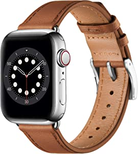 BesBand Compatible with Apple Watch Bands 44mm 42mm 40mm 38mm, Genuine Leather Business Replacement Bands Loop Men Women for iWatch SE & Series 6/5/4/3/2/1(Brown/Silver,42mm/44mm)