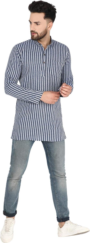 Maniche Lunghe Kurta Informali vestibilit/à Regolare SKAVIJ Camicia da Uomo in Cotone