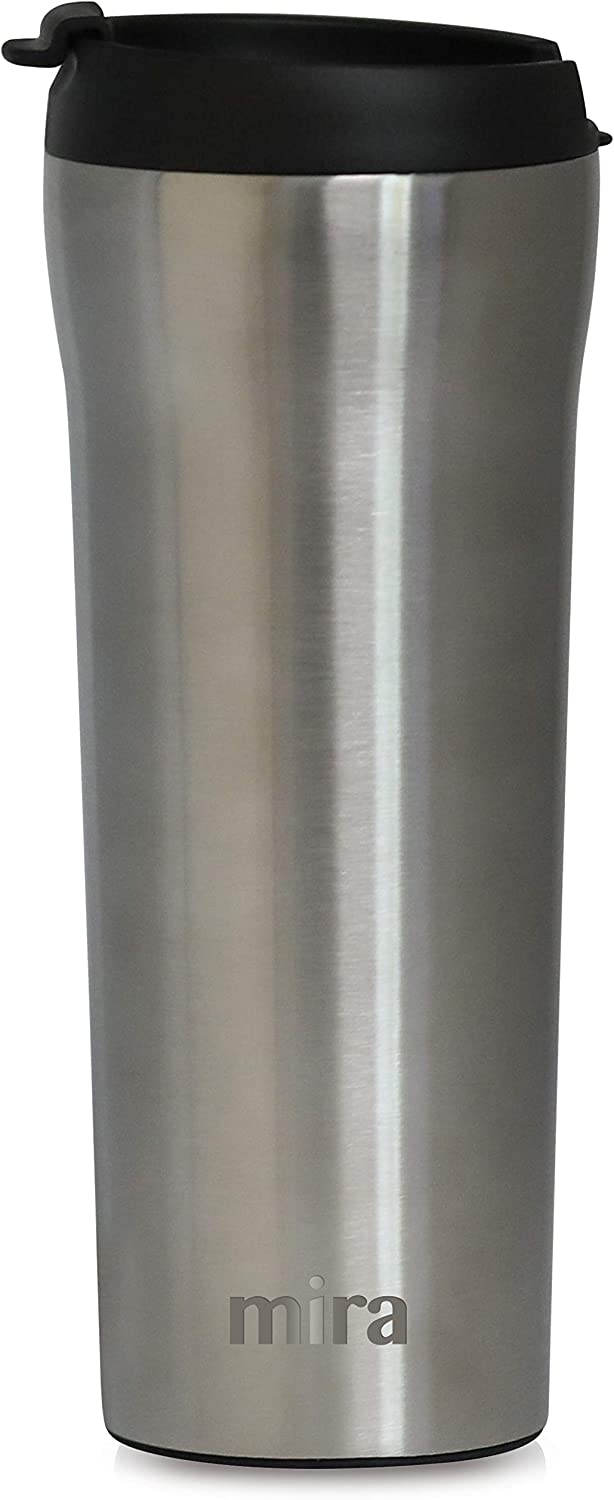 MIRA 16 oz Stainless Steel Insulated Travel Mug with lid | Spill Proof Vacuum Insulated Car Tumbler Cup for Coffee & Tea | Thermos Keeps Drinks Steaming Hot or Ice Cold | Stainless Steel