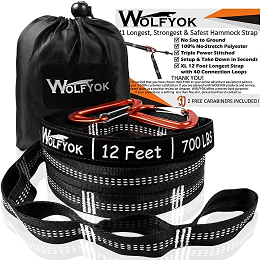 Lightweight Easy to install 25cm Long Pack of 2 F Fityle Hammock Straps Fits All Hammocks 220 LBS Heavy Duty