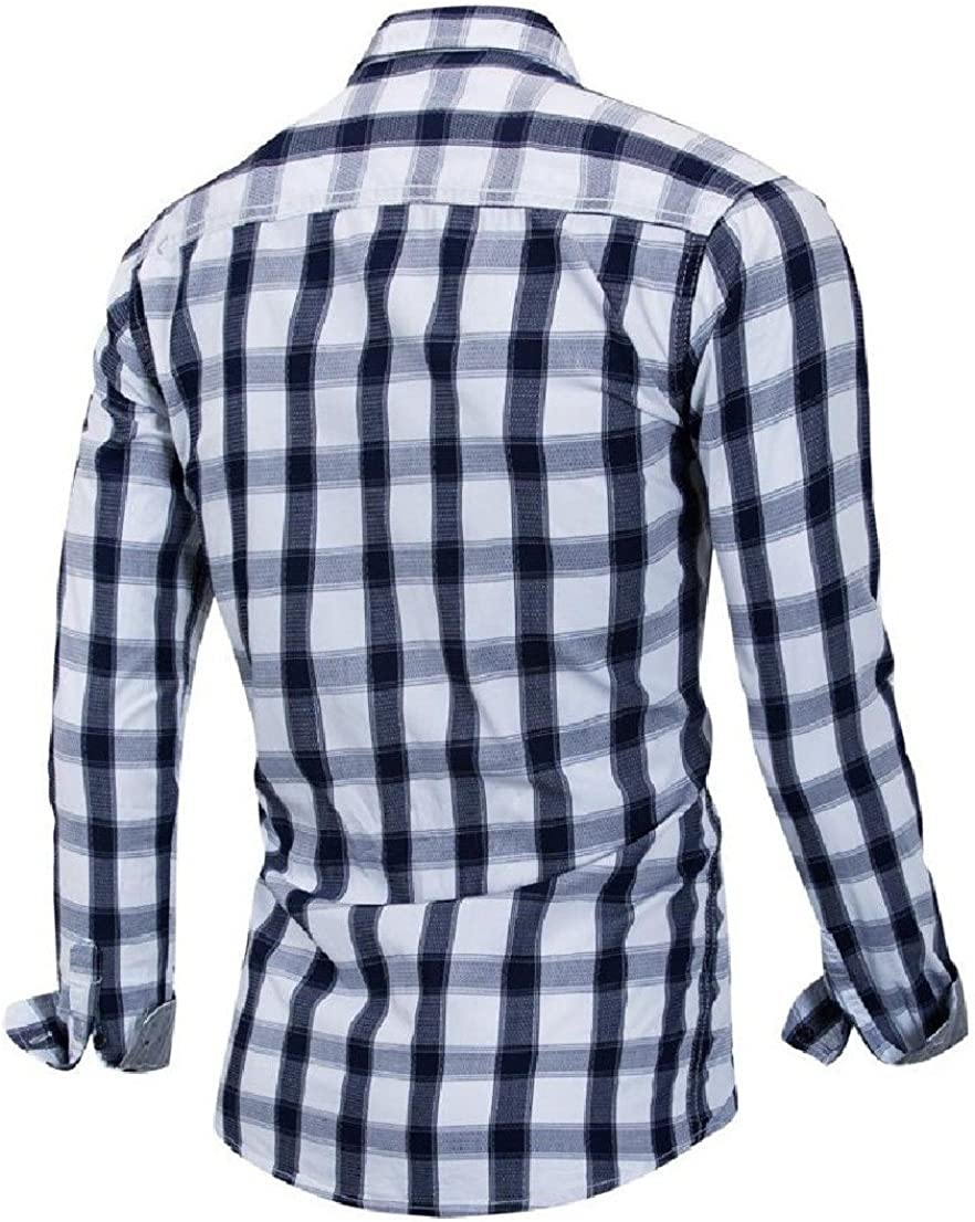 BAYY Mens Plaid Weekend Popular Plus-Size Long-Sleeve Luxury Dress Shirts