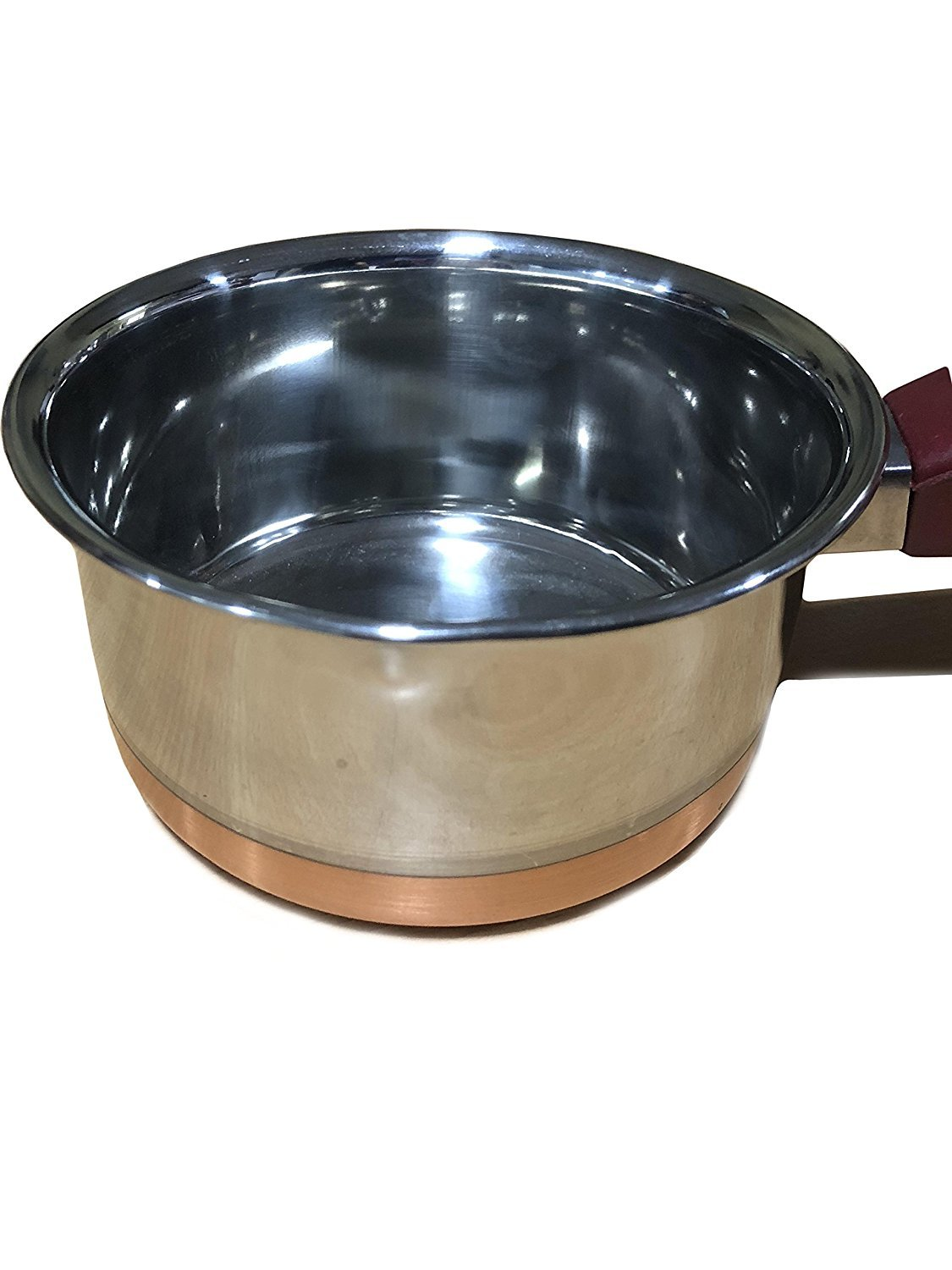 Stainless Steel Copper Bottom Saucepan/Cookware/Container With Handle, Silver Color Size 6 X 6 Inch