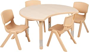 "Flash Furniture 25.125""W x 35.5""L Crescent Natural Plastic Height Adjustable Activity Table Set with 4 Chairs"