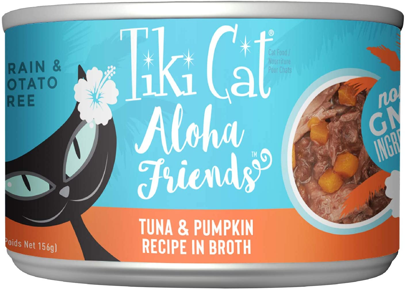Tiki Pets Tiki Cat Aloha Friends Grain-Free, Low-Carbohydrate Wet Food with Flaked Tuna for Adult Cats & Kittens, 5.5oz, 8 cans, Tuna & Pumpkin