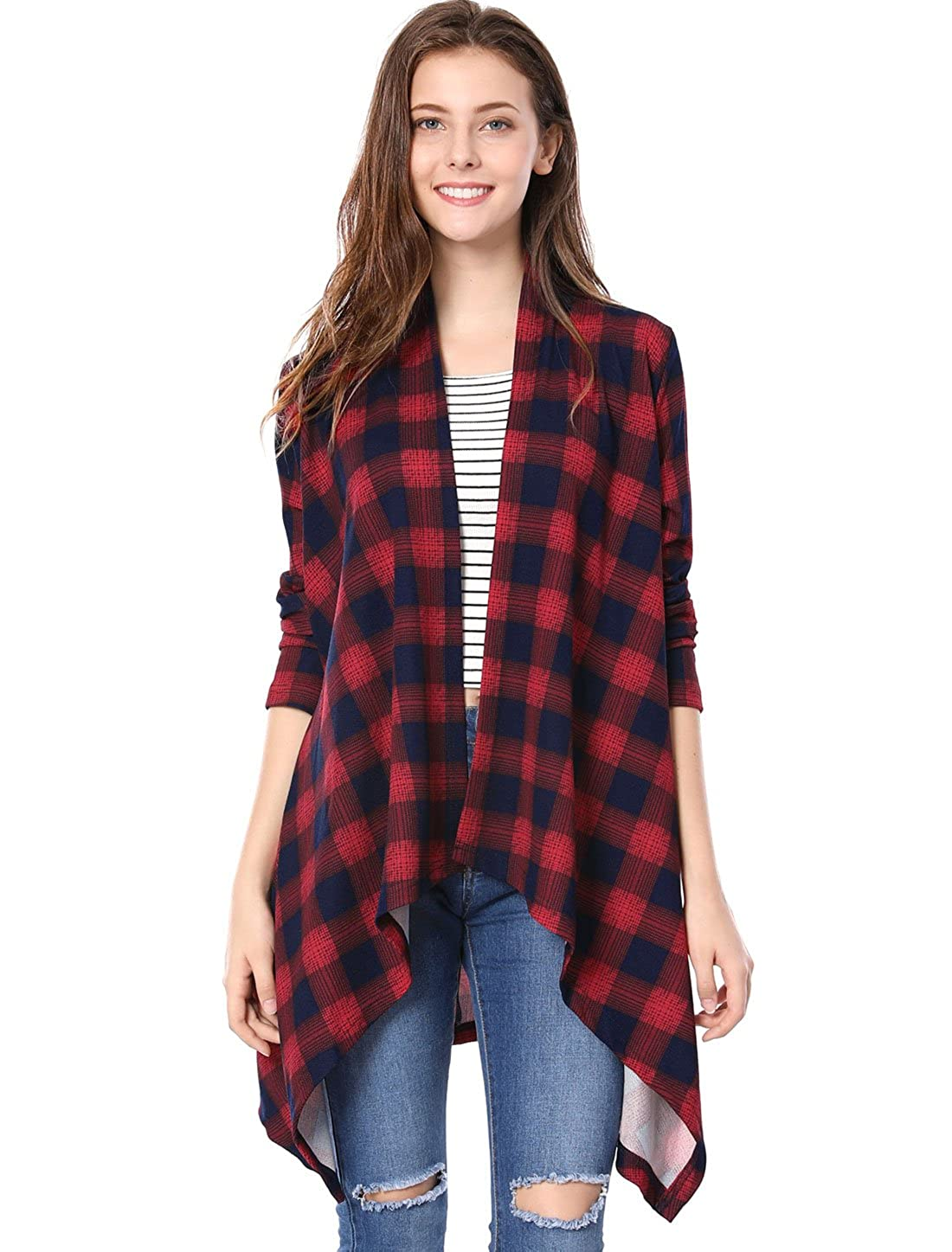 Allegra K Women's Hanky Hem Open Front Waterfall Loose Plaid Cardigan a17120700ux0350