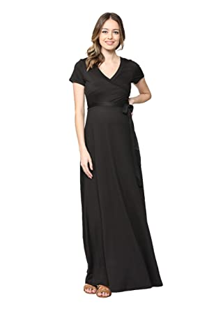 6f3aeee6b17cb Hello MIZ Women's Faux Wrap Maxi Maternity Dress with Belt - Made in USA  (Black