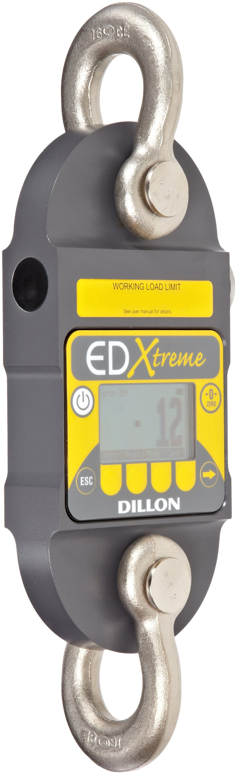 Dillon EDX-IT-S EDxtreme Dynamometer with Standard Anchor Shackle, 2500lbs Capacity, 2lbs Readability