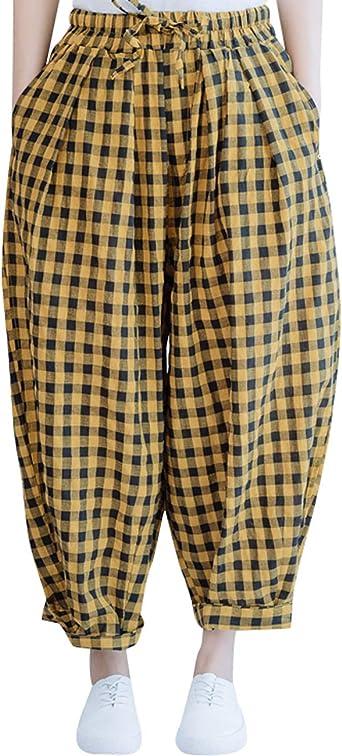 Bigassets Mujer Tartán Pantalones Cintura elástica Algodón Pantalon Ancho Style 1: Amazon.es: Ropa y accesorios