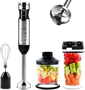Vinchef 300w 5 in 1 Immersion Hand Blender, Multi-Speed Stainless Steel Handheld Stick Blender with 700ml Beaker, Whisk, Chopper/Grinder Bowl and Wall Rack, Puree Baby Food, BPA-Free (Black)