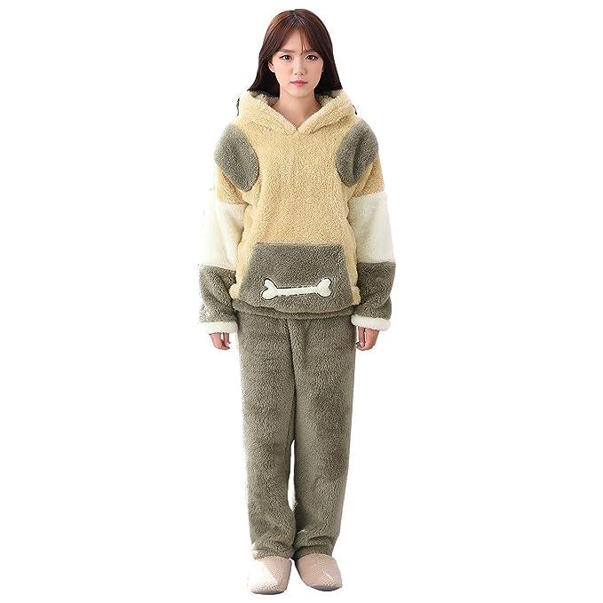 Invierno franela de dibujos animados huesos encapuchados de manga larga gruesa pareja pijama simple traje de