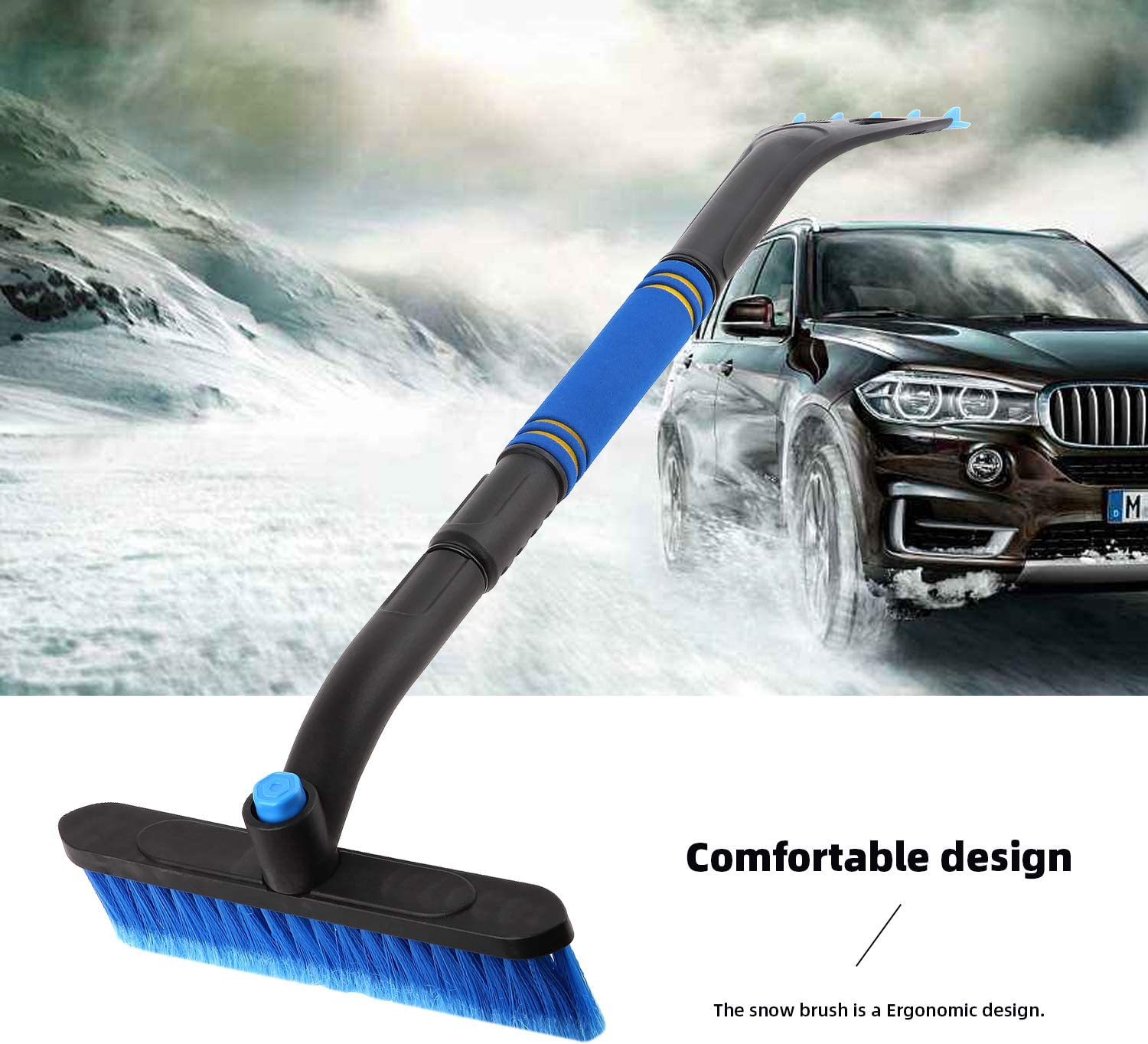 PVC Brush /& Pivoting Head Telescopic Snow Removal Tools for Car SUV FOCHEA Snow Brush and Ice Scraper for Car Windshield Snow Scraper for Car with Foam Grip Extendable /& Detachable