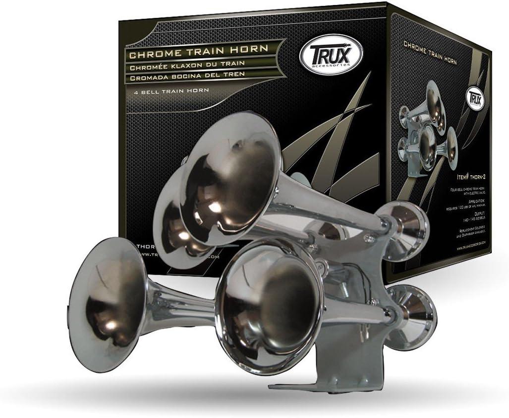 140-145 Decibels 4 Bell Chrome Train Horn Trux Accessories THORN-2 Train Horns
