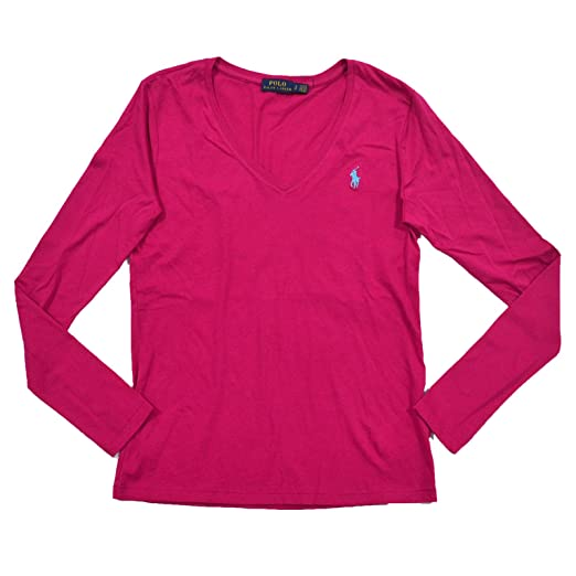 1b9df72e RALPH LAUREN Womens Long Sleeve V Neck Jersey Tee (Large, Pink/Blue Pony)  at Amazon Women's Clothing store: