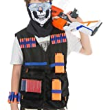 HOBFU 2 Sets Tactical Vest Kits for Nerf Gun 2 Pack N-Strike Elite Tactical Vest Jacket with 4 Wrist Bands, 4 Quick Reload Clips, 2 Protective Glasses 80 Bullets and 2 Face Tube Mask for Kids Fun